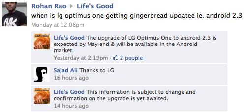 Le LG Optimus One pourrait passer sous Gingerbread au mois de mai