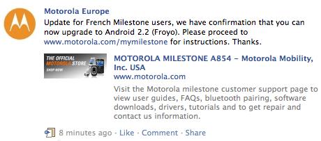 La mise à jour du Milestone vers FroYo est cette fois-ci officielle en France !