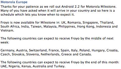 La mise à jour vers FroYo pour le Motorola Milestone est enfin arrivée ! (Mise à jour)