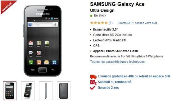 Le samsung Galaxy Ace sous Android est arrivé chez SFR