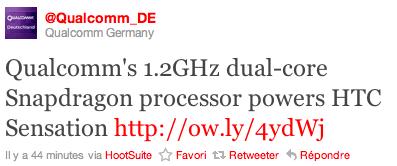 Le HTC Sensation confirmé par Qualcomm et Vodafone (MàJ)