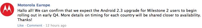 Le Motorola Milestone 2 passera sous Gingerbread au quatrième trimestre en Europe