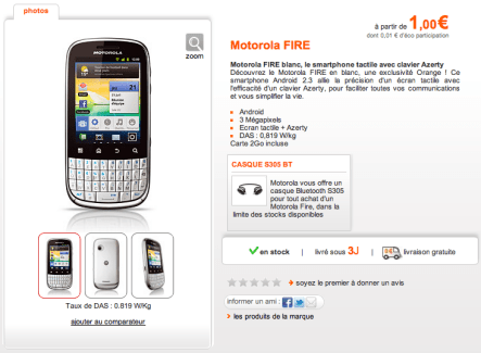 Le Motorola Fire est maintenant disponible chez Orange
