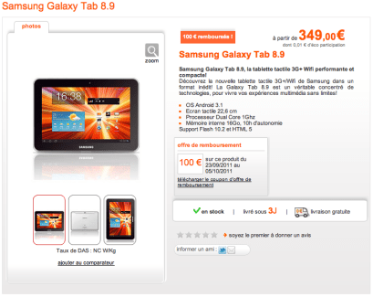 La Samsung Galaxy Tab 8.9 est arrivée chez Orange, à partir de 349€