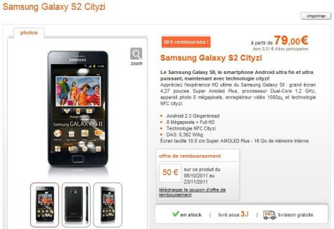 Le Samsung Galaxy S II Citizy (NFC) est disponible chez Orange