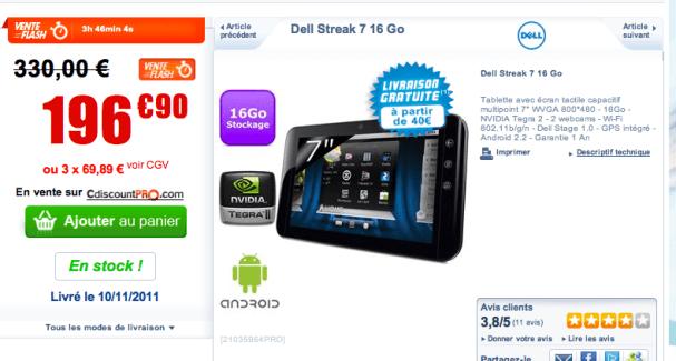 Vente flash : la Dell Streak à moins de 200 euros...