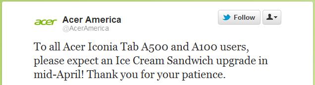 Acer confirme Ice Cream Sandwich sur les Iconia Tab A100 et A500 pour avril