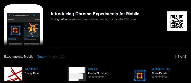 Arrivée d'une nouvelle version de Google Chrome et du service Google Experiments sur mobile