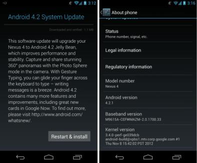 Android 4.2.1 est en cours de déploiement sur Nexus 4, 7 et 10