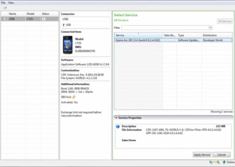 Sony fournit Flash Tool, pour «re-installer» son Xperia