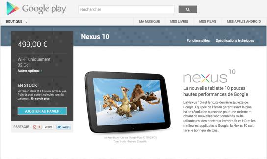 La Nexus 10 32 Go est de retour sur le Play Store français
