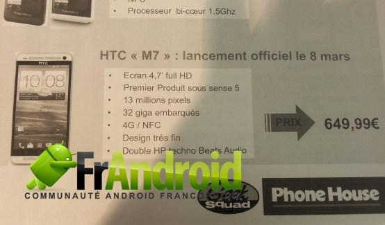 Le HTC M7 serait lancé officiellement le 8 mars à 649,90 euros !