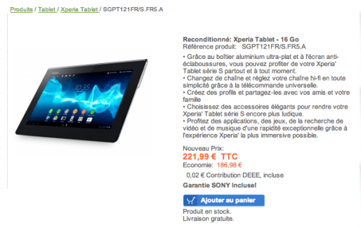 Bon plan : La tablette Sony Xperia Tablet S à 222 euros (16 Go)