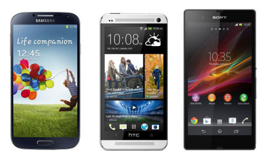 Comparaison des smartphones Android 1080p : Samsung Galaxy S4, HTC One et Sony Xperia Z