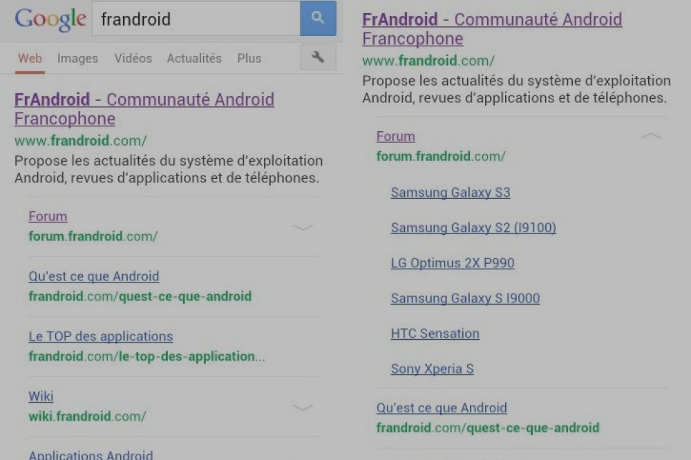 Google Mobile Search améliore l'éventail des sections des sites web
