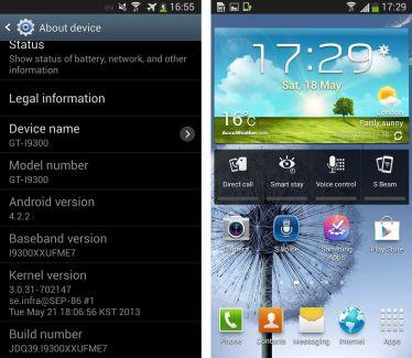 Fuite de la version test d'Android 4.2.2 pour le Galaxy S3