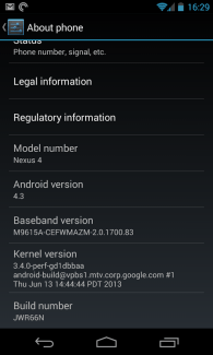 Fuite d'Android 4.3 Jelly Bean sur le Google Nexus 4