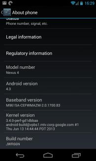 Fuite d'Android 4.3 Jelly Bean sur le Google Nexus 4