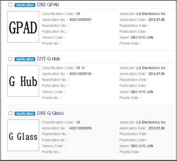 LG vient de déposer GPad, G Watch, GGlass, GBand, GLink et GHub
