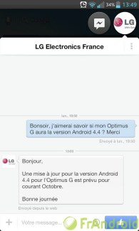 LG : Android 4.4 KitKat est confirmé sur l'Optimus G en octobre
