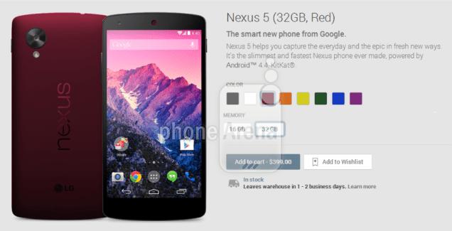 Google Nexus 5 : six nouvelles couleurs en préparation ?