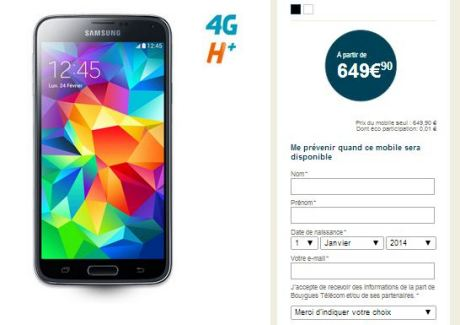 Galaxy S5 : Il sera vendu à 649 euros (16 Go) chez Bouygues Telecom