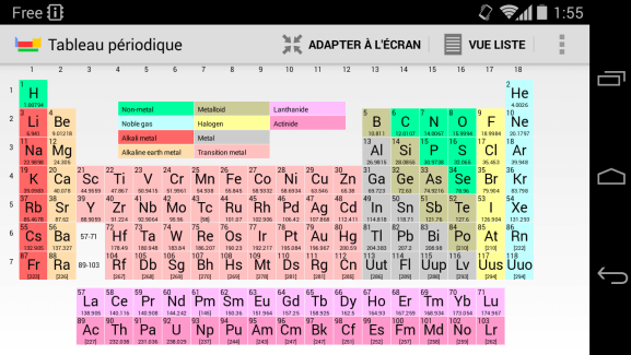 Tableau Périodique, la chimie à portée de main sur Android