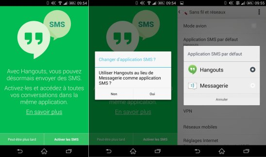Hangouts regroupe désormais SMS et conversations de chat