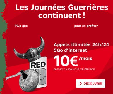 SFR RED prolonge jusqu'au 26 mai ses offres guerrières : 5 Go à 10 euros par mois !