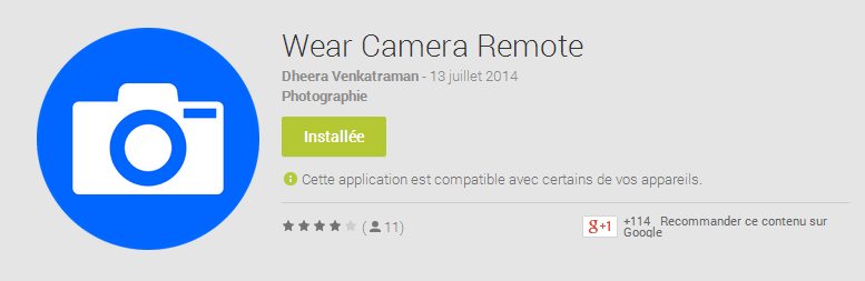 Wear Camera Remote : une app pour contrôler l'appareil photo depuis Android Wear avec aperçu vidéo