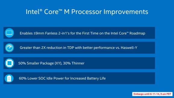 Intel Core M : la puissance des PC dans des tablettes fines, c'est pour la fin 2014