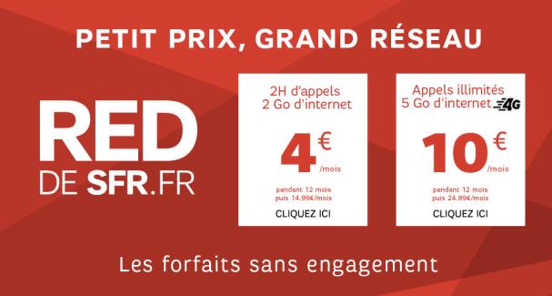 SFR RED : l'offre à 10 euros incluant 5 Go en 4G est prolongée jusqu'au 15 septembre