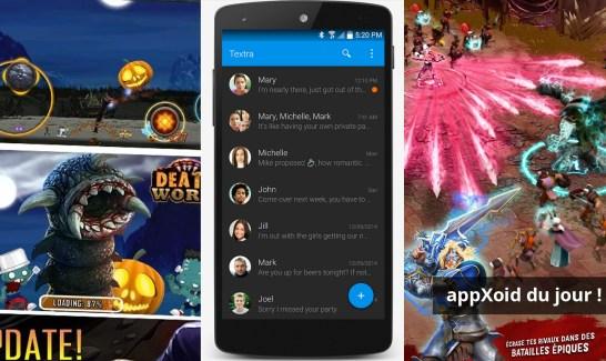 Les apps du jour : Death Worm, Textra SMS et Battle of Heroes