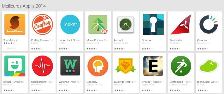 Google Play publie ses «meilleures applications 2014″