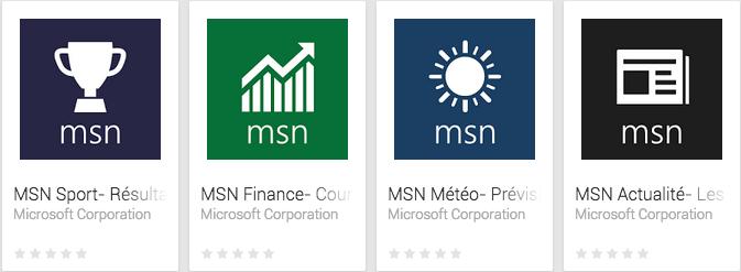 Microsoft publie sa suite d'applications MSN sur le Play Store
