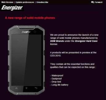 Energizer compte présenter des smartphones au CES 2015