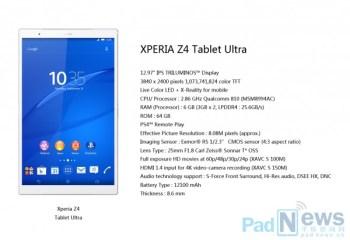 Un prix de vente de 1000 dollars pour la Sony Xperia Z4 Tablet Ultra ?