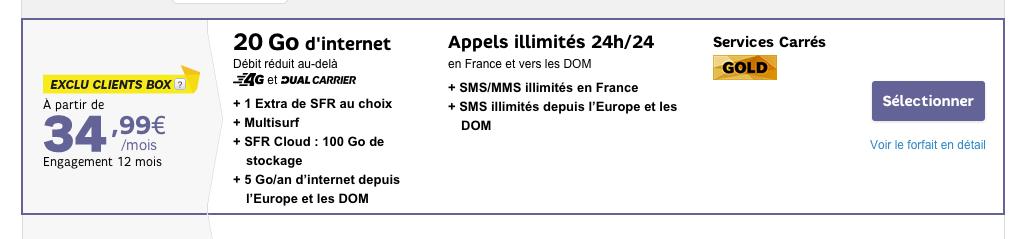 SFR lance un forfait avec 20 Go de 4G… à 34,99 euros par mois
