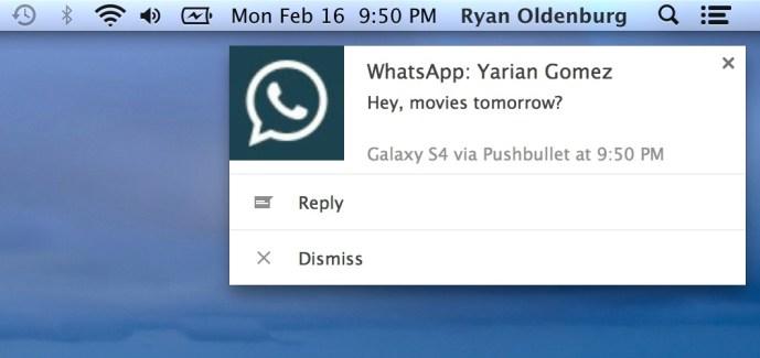 Pushbullet permet maintenant de répondre à des messages de WhatsApp, Facebook Messenger ou Hangouts depuis son PC