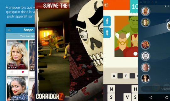 Les apps de la semaine : Happn, Corridor Z, Skullduggery!, Devinez le film ! ~ Logo Quiz, Drupe – Contacts. Your way.