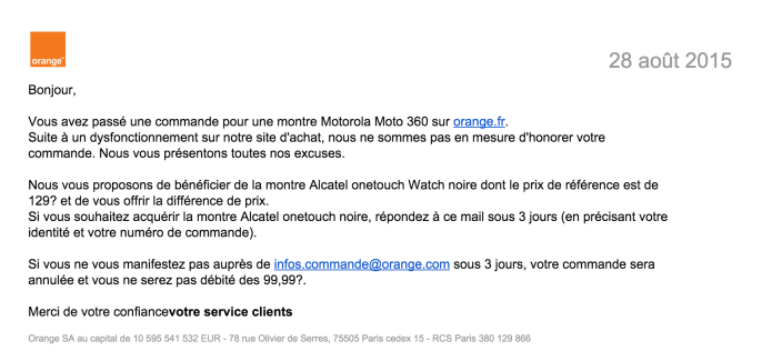 La Moto 360 à 99 euros ? Un « dysfonctionnement » selon Orange