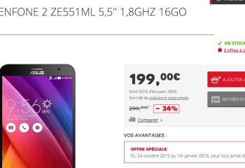 🔥 Bon plan : Asus Zenfone 2 (ZE551ML) à 199 euros