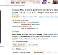 🔥 Bon plan : Le Motorola Moto G 3ème génération à 179 euros sur Amazon