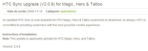 HTC Sync mis à jour : Dream, Magic, Hero et Tattoo