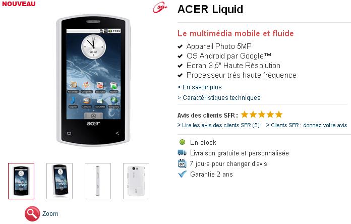 Acer Liquid disponible chez SFR