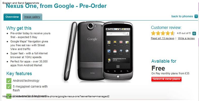 Le Nexus One chez SFR en mai