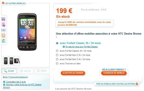 HTC Desire disponible sur le site Bouygues Telecom !