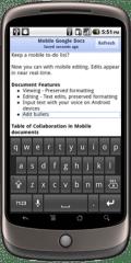 Google Docs supporte l'édition du traitement de texte en version mobile