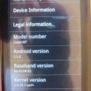 Acer Liquid Metal : La première rom sous Gingerbread a fuité