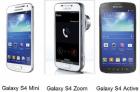 Samsung : les prix des Galaxy S4 Mini, S4 Zoom et S4 Active
